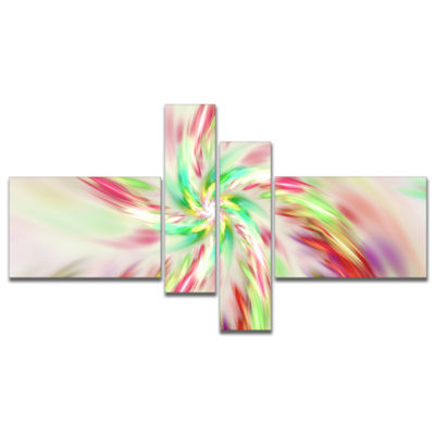 Designart Exotic Multi Color Spiral Flower Multipanel Abstract Canvas Art Print - 4 Panels
