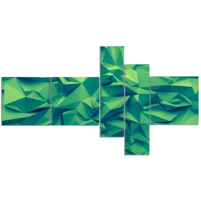 Designart Trendy Emerald Green Background Multipanel Abstract Canvas Art Print - 5 Panels