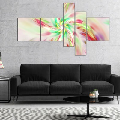 Designart Exotic Multi Color Spiral Flower Multipanel Abstract Canvas Art Print - 5 Panels
