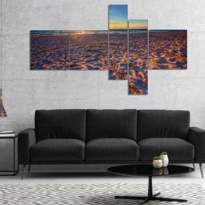 Designart Trodden Sandy Beach At Sunset MultipanelSeashore Canvas Art Print - 5 Panels