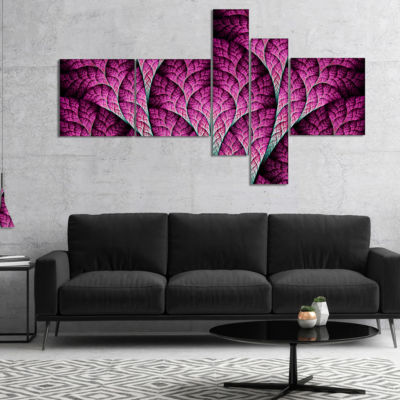 Designart Exotic Pink Biological Organism Multipanel Abstract Art On Canvas - 5 Panels