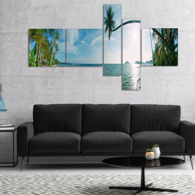 Designart Tropical Beach Panorama Multipanel Photography Canvas Art Print - 4 Panels