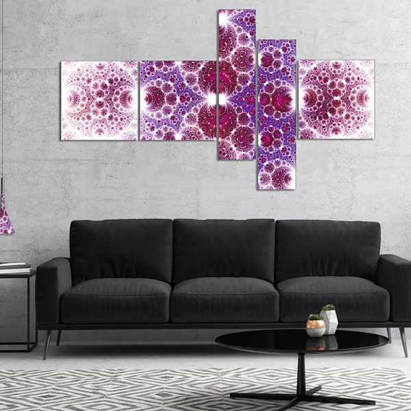 Designart Exotic Pink Fractal Crescent Pattern Multipanel Abstract Art On Canvas - 5 Panels