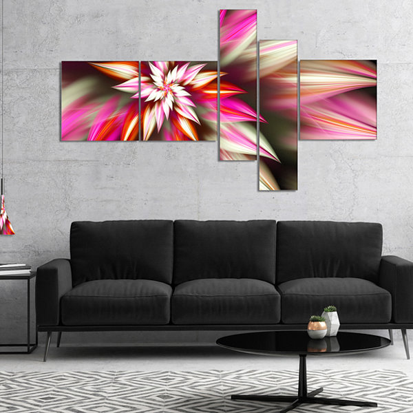 Designart Exotic Red Fractal Spiral Flower Multipanel Abstract Canvas Art Print - 4 Panels