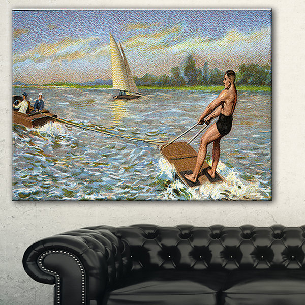 Designart Water Skiing Photography Canvas Art Print - 3 Panels