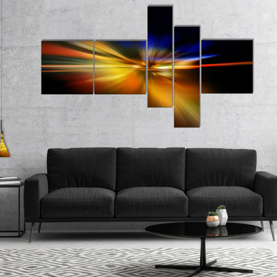 Designart Explosion Of Light In Black Multipanel Abstract Canvas Art Print - 5 Panels