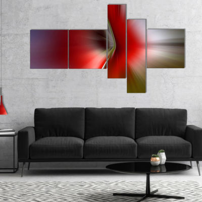 Designart Explosion Of Red On Purple Multipanel Abstract Canvas Art Print - 5 Panels