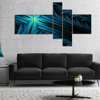 Designart Turquoise Fractal Cross Design Multipanel Abstract Canvas Art Print - 4 Panels
