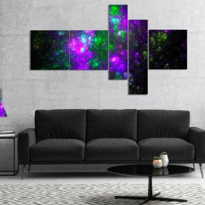 Designart Explosion Supernova Fractal Art Multipanel Abstract Canvas Art Print - 5 Panels