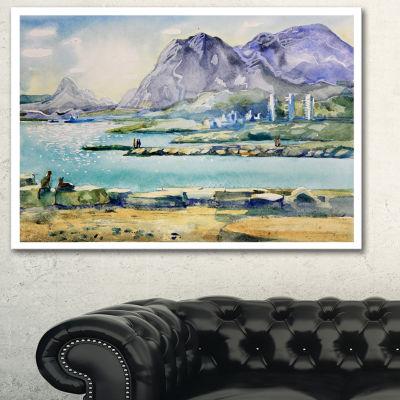 Designart Watercolor Blue Hills Landscape Art Print Canvas - 3 Panels