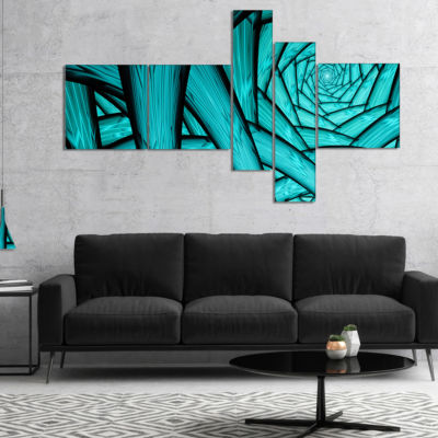 Designart Turquoise Fractal Endless Tunnel Multipanel Abstract Canvas Art Print - 4 Panels
