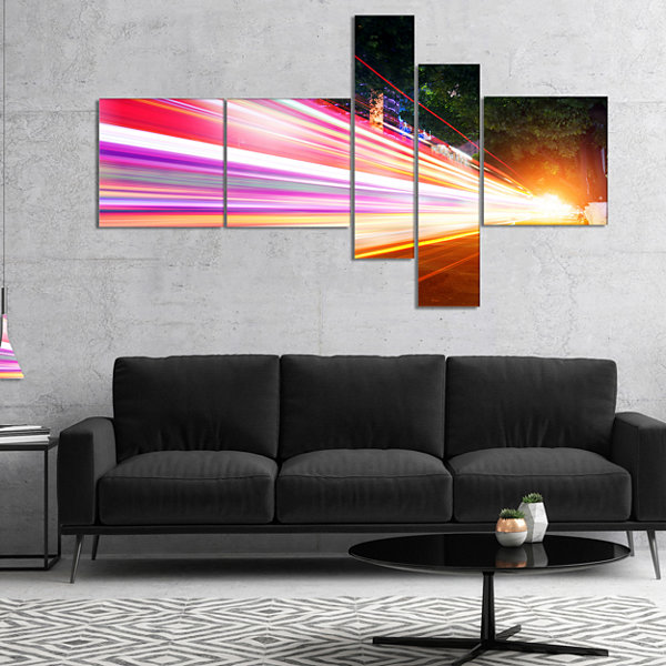 Designart Expressway Light Trails Multipanel Cityscape Photo Canvas Art Print - 5 Panels