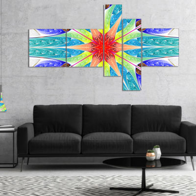 Designart Extraordinary Fractal Blue Design Multipanel Abstract Canvas Art Print - 4 Panels