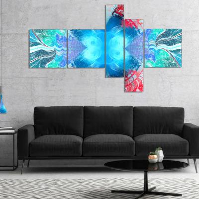 Designart Extraordinary Fractal Blue Texture Multipanel Abstract Canvas Art Print - 4 Panels