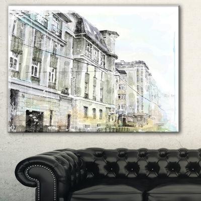 Designart Watercolor Dark Illustration Cityscape Painting Canvas Print - 3 Panels