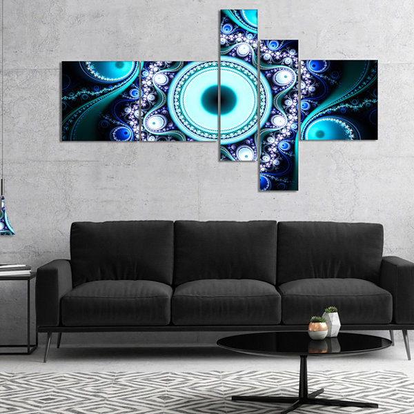 Designart Turquoise Fractal Pattern With CirclesMultipanel Abstract Canvas Art Print - 4 Panels