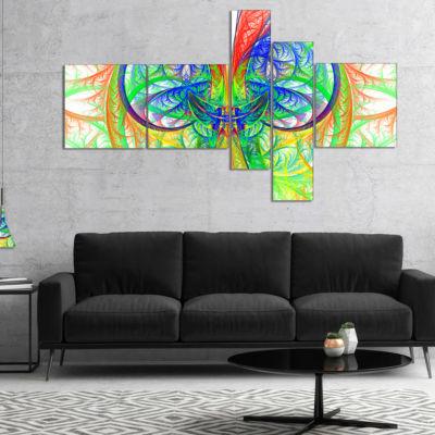 Designart Extraordinary Fractal Green Design Multipanel Abstract Canvas Art Print - 5 Panels