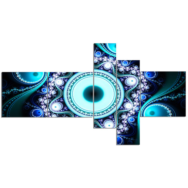 Designart Turquoise Fractal Pattern With CirclesMultipanel Abstract Canvas Art Print - 5 Panels
