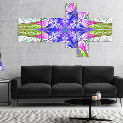 Designart Extraordinary Fractal Light Green Art Multipanel Abstract Canvas Art Print - 4 Panels