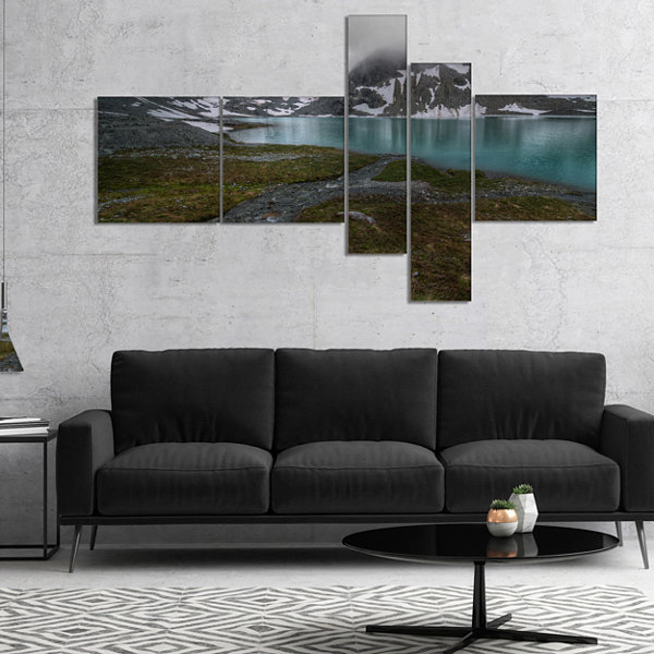 Designart Turquoise Mountain Lake With Clouds Multipanel Landscape Canvas Art Print - 4 Panels