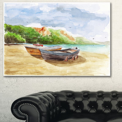 Designart Watercolor Fishing Boats Landscape Art Print Canvas
