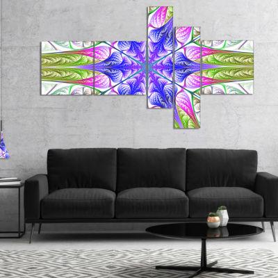 Designart Extraordinary Fractal Light Green Art Multipanel Abstract Canvas Art Print - 5 Panels