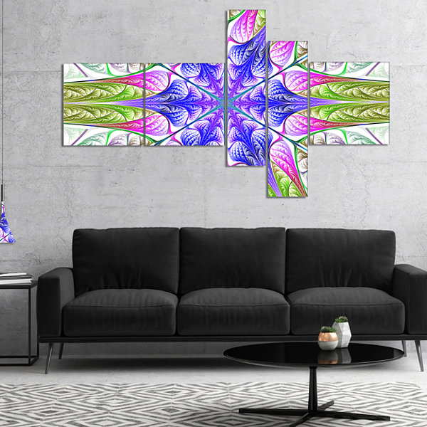 Designart Extraordinary Fractal Light Green Art Multipanel Abstract Canvas Art Print - 5 Panels