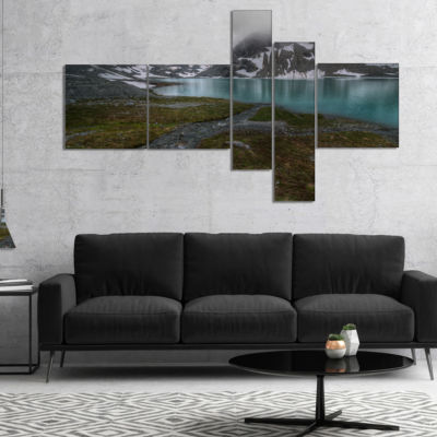 Designart Turquoise Mountain Lake With Clouds Multipanel Landscape Canvas Art Print - 5 Panels
