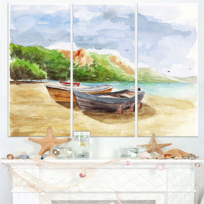 Designart Watercolor Fishing Boats Landscape Art Print Canvas - 3 Panels
