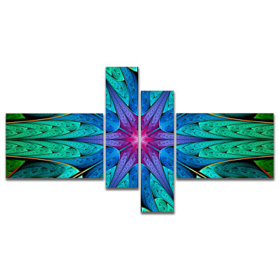 Design Art Turquoise Star Fractal Stained Glass Multipanel Abstract Canvas Art Print - 4 Panels