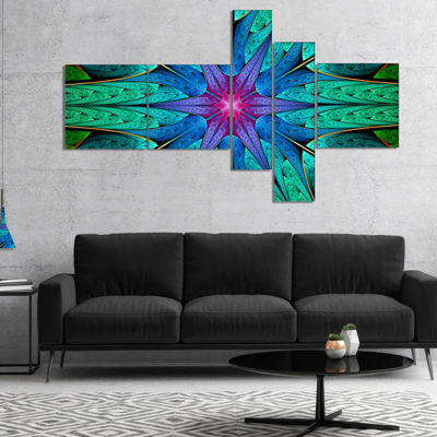Designart Turquoise Star Fractal Stained Glass Multipanel Abstract Canvas Art Print - 4 Panels