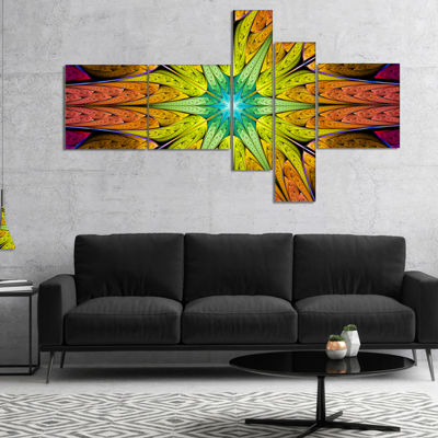 Designart Extraordinary Fractal Yellow Design Multipanel Abstract Canvas Art Print - 5 Panels