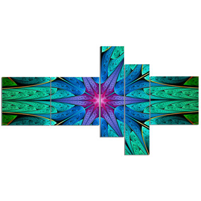 Designart Turquoise Star Fractal Stained Glass Multipanel Abstract Canvas Art Print - 5 Panels