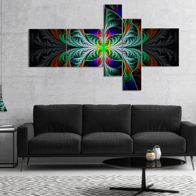Designart Fabulous Blue Fractal Texture MultipanelAbstract Canvas Art Print - 5 Panels
