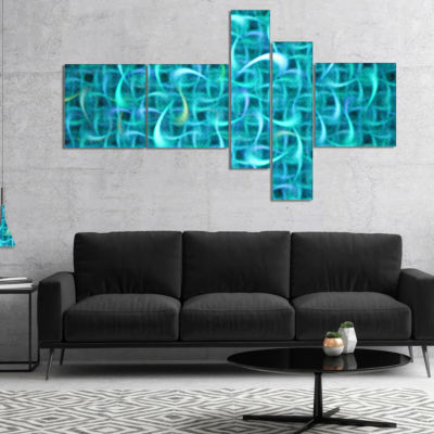 Designart Turquoise Watercolor Fractal Pattern Multipanel Abstract Art On Canvas - 5 Panels