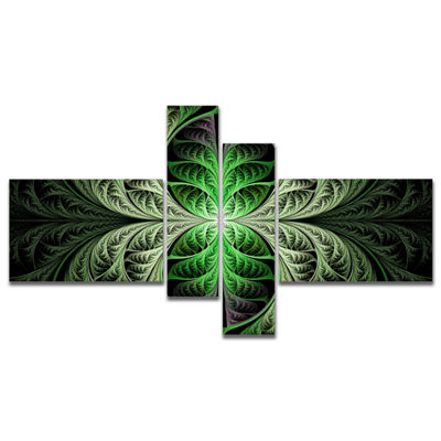 Designart Fabulous Green Fractal Texture Multipanel Abstract Canvas Art Print - 4 Panels