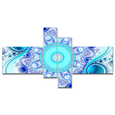 Designart Turquoise Wavy Curves And Circles Multipanel Abstract Canvas Art Print - 4 Panels