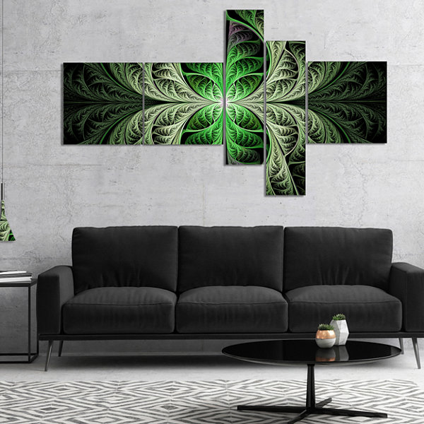 Designart Fabulous Green Fractal Texture Multipanel Abstract Canvas Art Print - 5 Panels