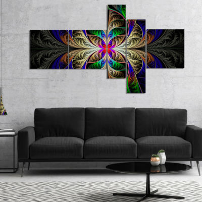 Designart Fabulous Multi Color Fractal Art Multipanel Abstract Canvas Art Print - 4 Panels
