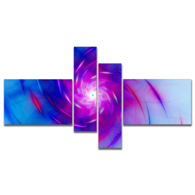 Designart Turquoise Whirlpool Fractal Spirals Multipanel Abstract Art On Canvas - 4 Panels