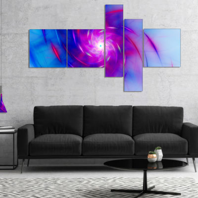 Designart Turquoise Whirlpool Fractal Spirals Multipanel Abstract Art On Canvas - 5 Panels