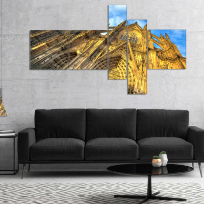 Designart Facade Of Dom Church With Blue Sky Multipanel Large Cityscape Art Print On Canvas - 4 Panels