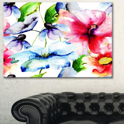 Designart Watercolor Flowers Everywhere Floral ArtCanvas Print - 3 Panels