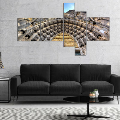 Designart Facade Of The Dom Church In City Multipanel Large Cityscape Art Print On Canvas - 4 Panels