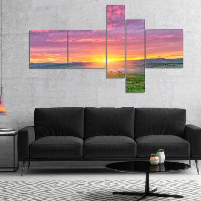 Designart Tuscany Sunrise With Pink Sky MultipanelLarge Landscape Canvas Art - 5 Panels