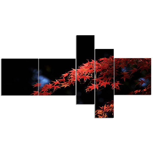 Designart Fall Foliage Of Maple Leaves MultipanelAbstract Canvas Art Print - 5 Panels