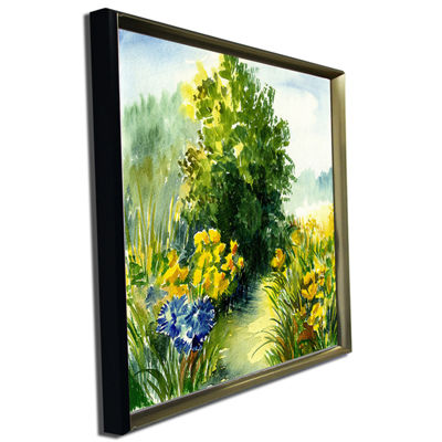 Designart Watercolor Greenery Landscape Art PrintCanvas