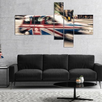 Designart Uk Cab In London Multipanel Cityscape Photography Canvas Art Print - 5 Panels