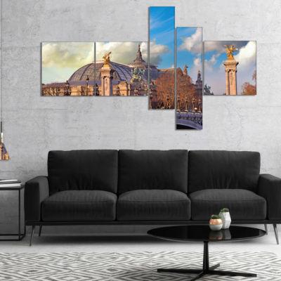 Design Art Famous Great Palace In Paris MultipanelModern Cityscape Canvas Art Print - 5 Panels