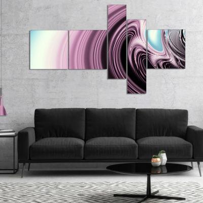 Designart Unique Purple Fractal Art Pattern Multipanel Abstract Canvas Wall Art Print - 5 Panels